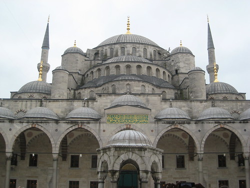 "The famous ""Blue Mosque"", also called Sultanahmet after the Ottoman ruler who commissioned it, as seen from the courtyard."