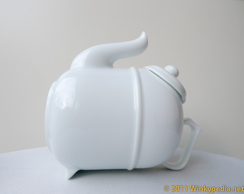 Tilting teapot- brewing position