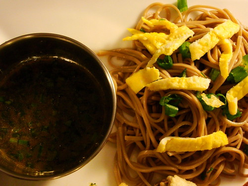 spicy dipping sauce and soba salad