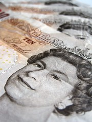 Close up of 10 pound notes