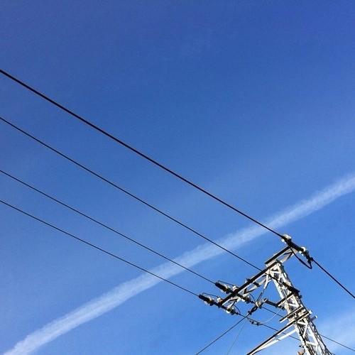 先日見かけた飛行機雲をどうぞ!