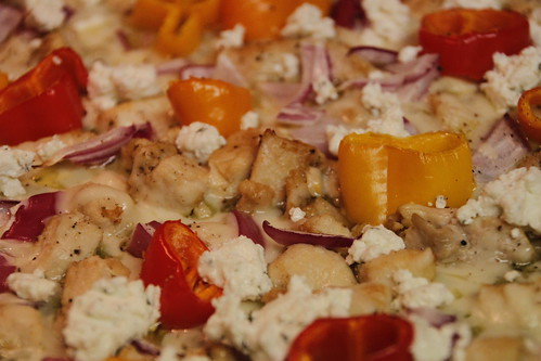 Sweet Pepper, Chicken, & Goat Cheese Pizza