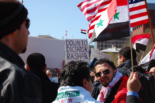 "Syria protest: ""down to dictator Bashar"""