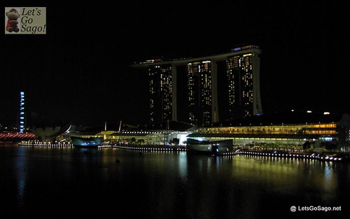Dimmed Marina Bay Sands View from Fullerton Bay Hotel Ground floor
