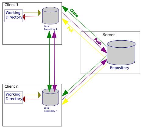 Grafik die das Zusammenspiel zwischen mehreren dezentralen Repositories, dem Elternrepository und den Working Directories verbildlicht