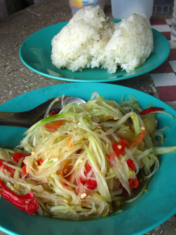 Laos Papaya Salad and Sticky Rice