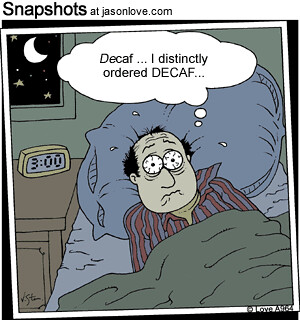 Cartoon: insomnia caused by caffeine