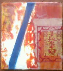 Encaustic & plaster collage