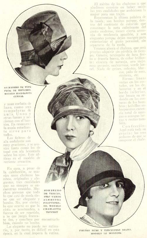 moda en sombreros de mujer de 1926