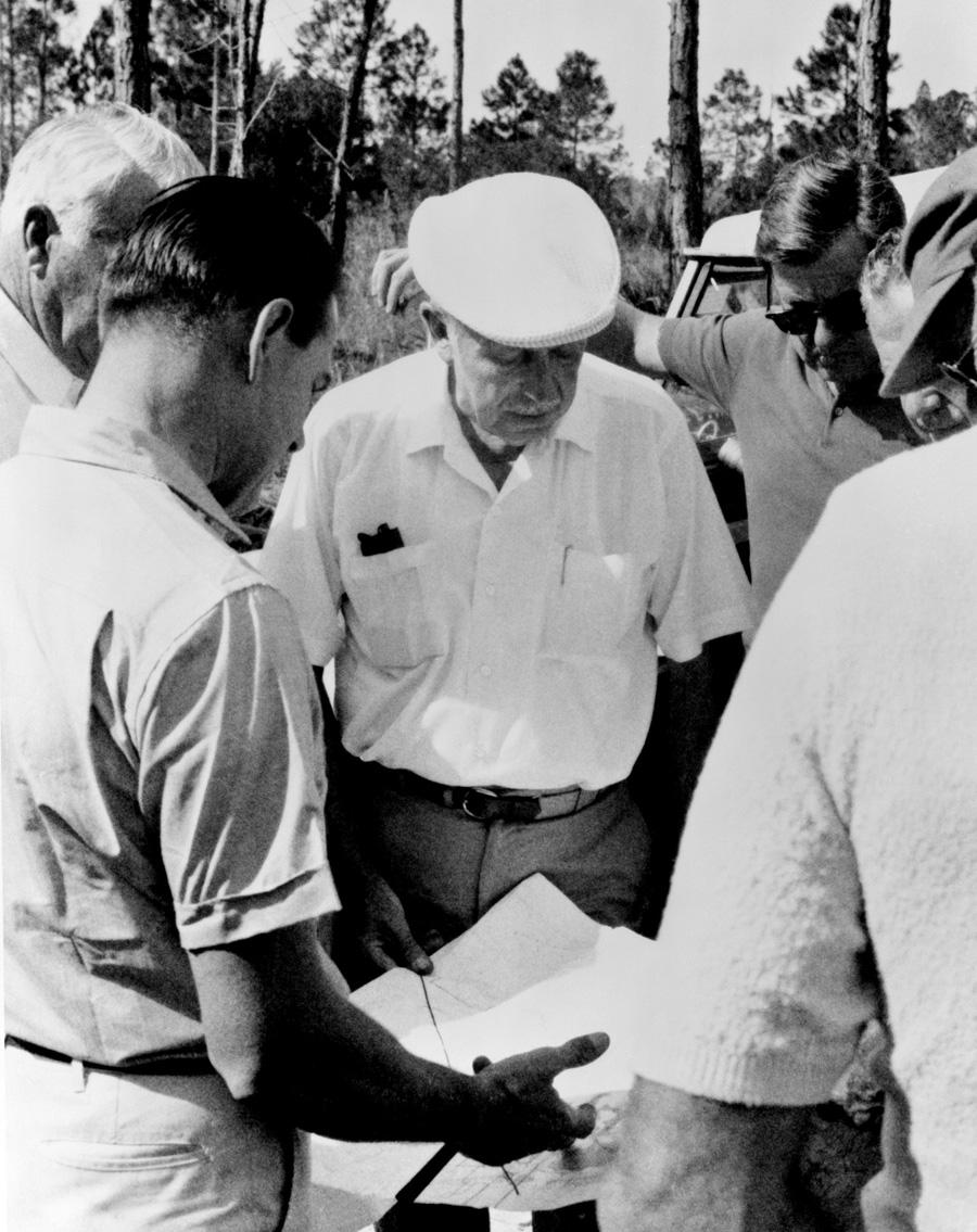 Walt Disney Surveying Land in Central Florida