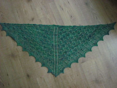 shawl blocked