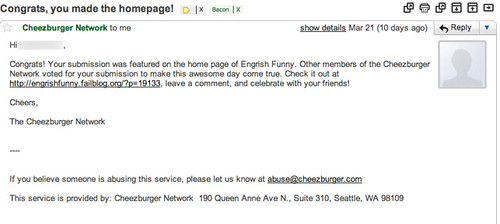 Email Cheeseburger Network