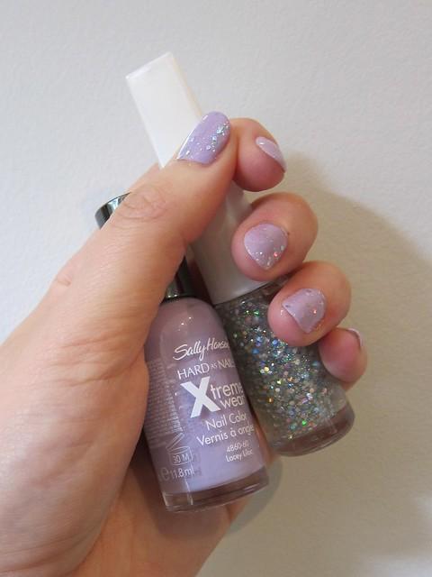 Sally Hansen Xtreme Wear in Lacey Lilac + Dollar Store Shitty Glitter