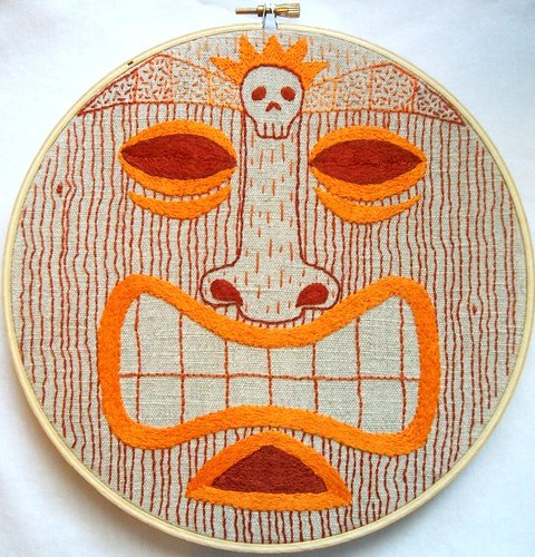 orange tiki hoop embroidery