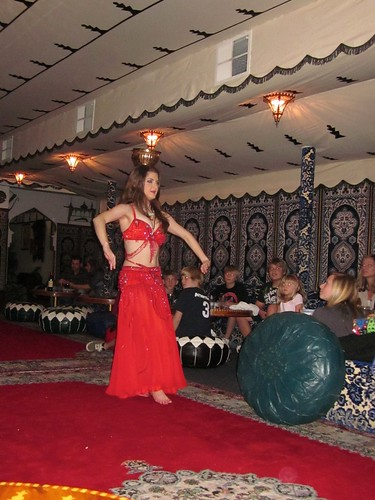 belly dancer at Moroccan restaurant