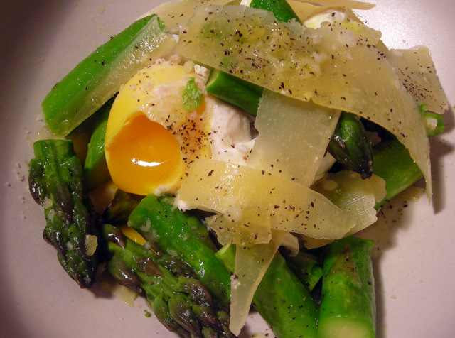 Roasted asparagus, poached farm egg and Parmesan cheese