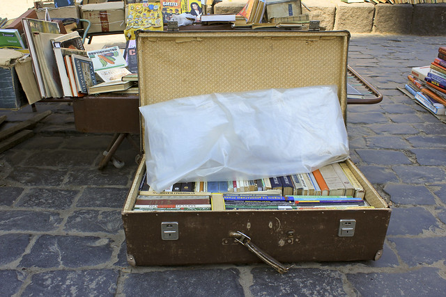 suitcase full of books