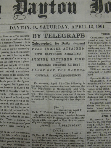 Daily Dayton Journal, April 13, 1861 - headline closeup