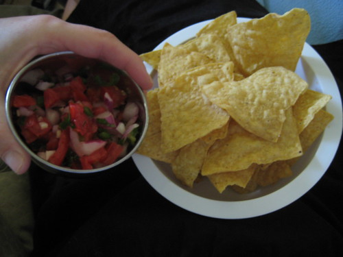 salsa, chips