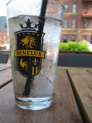 Water at Cafe Benelux, Benelux logo