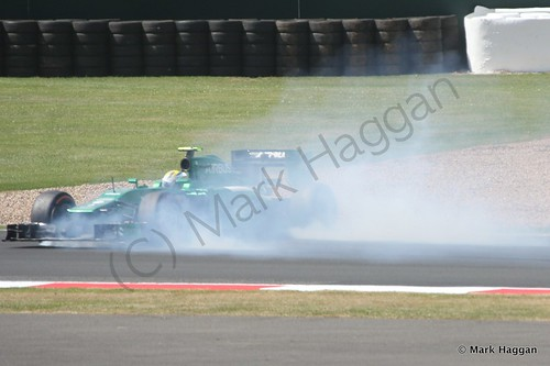 Marcus Ericsson spins off during Free Practice 1 at the 2014 British Grand Prix