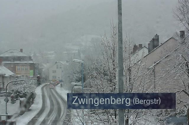 DeutscheBahn RB train snow Zwingenberg Germany