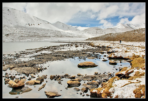 Snow mountains and lake at Sikkim