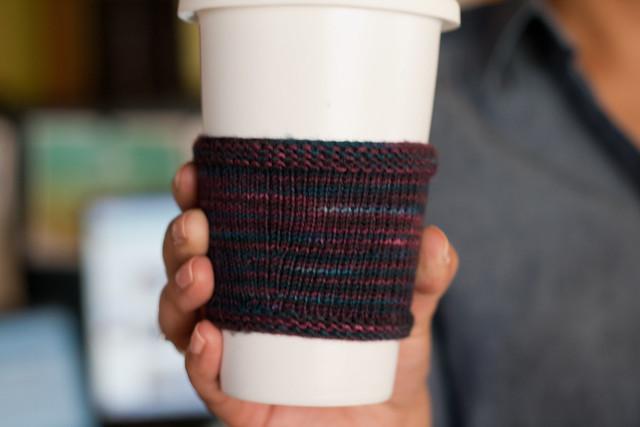 Hand knit coffee cozy