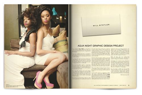 Design Project: Aqua Night Magazine Spread - pgs. 8 & 9