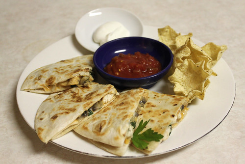 Easy Chicken-Mushroom Quesadillas