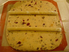 about to roll the cranberry stollen