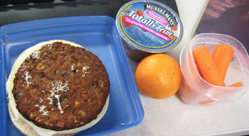 morningstar black bean burger, applesauce, clementine, carrots