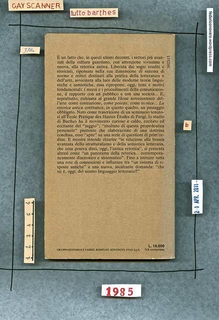 Roland Barthes, La retorica antica. Bompiani 1985. quarta di copertina