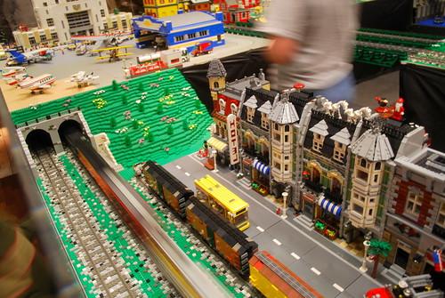 lego train goes by