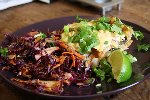 Spicy Tortilla Casserole with Roasted Poblanos; Classic Cabbage