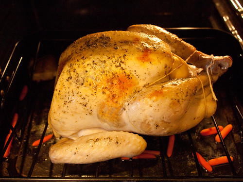 A photo of a turkey in an oven.