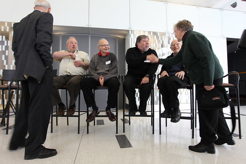 From Left: Al Alcorn, invented Pong. Donald Knuth, software pioneer. Steve Wozniak, co-founded Apple. Max Mathews, computer music pioneer. Frances Allen, pioneered several computer languages.