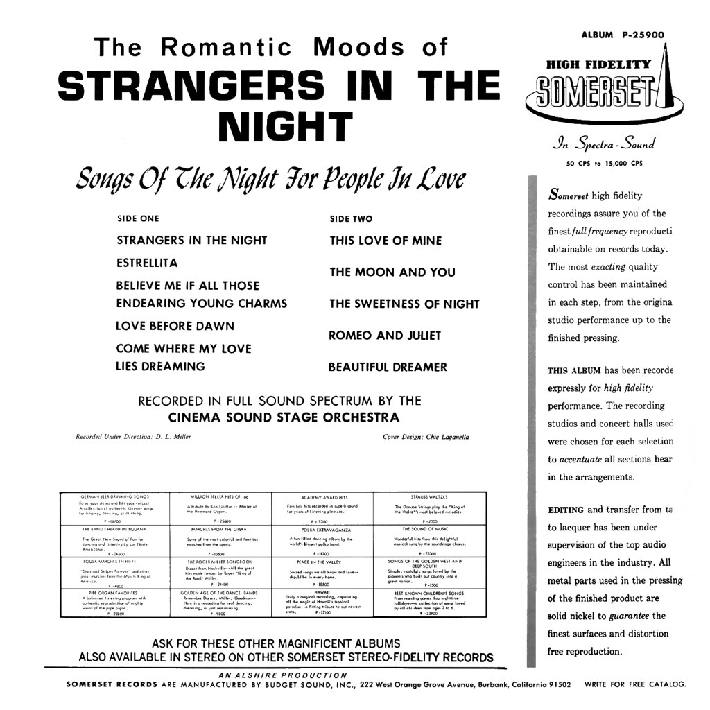 The Hollywood Sound Stage Orchestra - Strangers In The Night