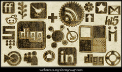 Webtreats Worn Cloth Social Networking Icons