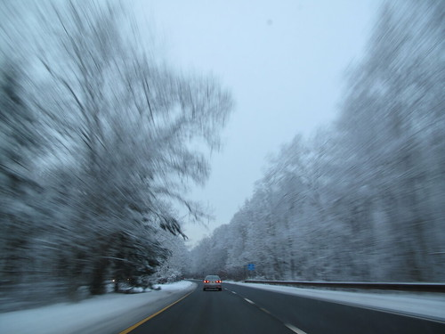 beautiful snowy road landscape