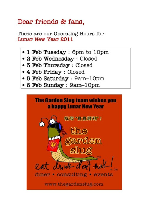 CNY 2011 Opening Hours