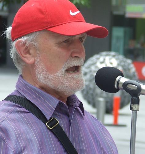 Academic Garry MacLennan addresses the rally - Wikileaks Rally, Reddacliffe Place at Brisbane Square, Brisbane, Queensland, Australia 101218