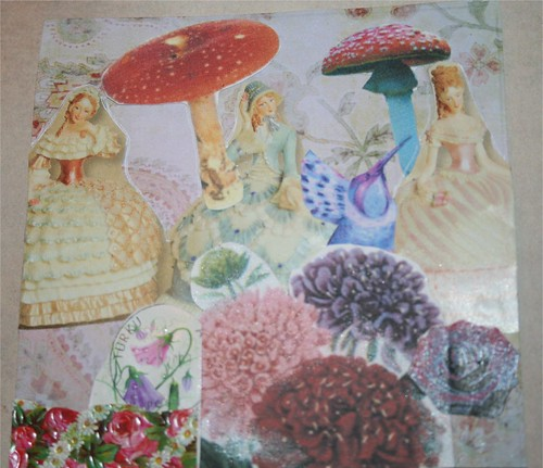 "Belles in Mushroomland 4"" x 4"" Collage card"