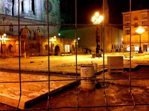 Burgos. Catedral. Nieve. Obras