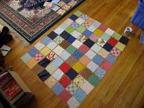Layout of nephew's new quilt