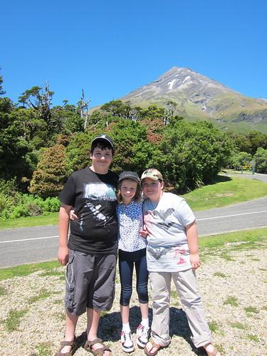 David, Caitlin and Tom in front of Mt Taranaki