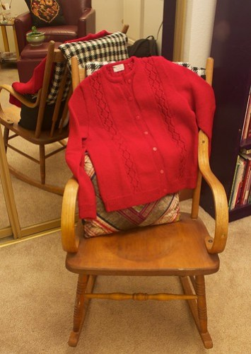 Red Cardi in rocker