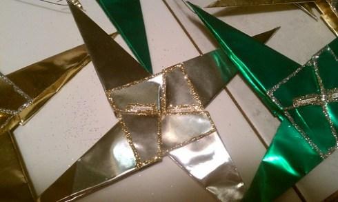 Origami foil Christmas stars - Rejoice