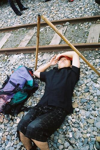 阿里山森林火車鐵軌太累了睡著了2