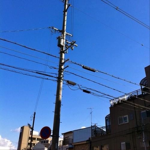 さぁ、お昼は青空と、電信柱でもどうぞ! #blue_sky #sky #telephone_pole #telephone_line #電信柱